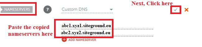 Paste nameservers to domain list