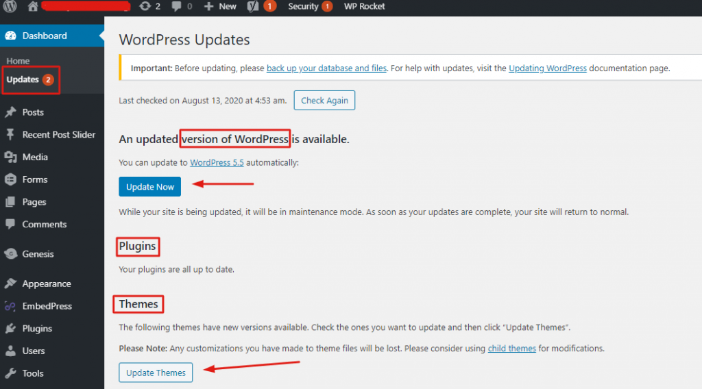 step - 3 WordPress security checklist - keep WP core, themes & plugins updated