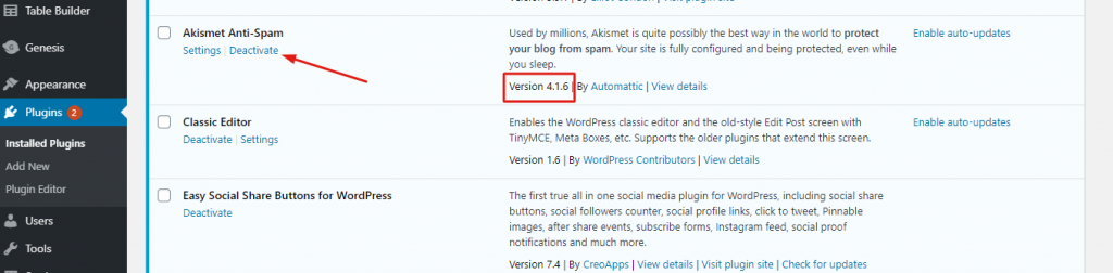 Activate a new plugin in WordPress