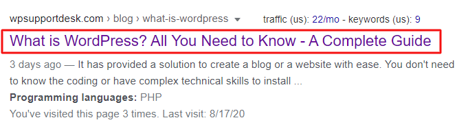 Title in Search engines