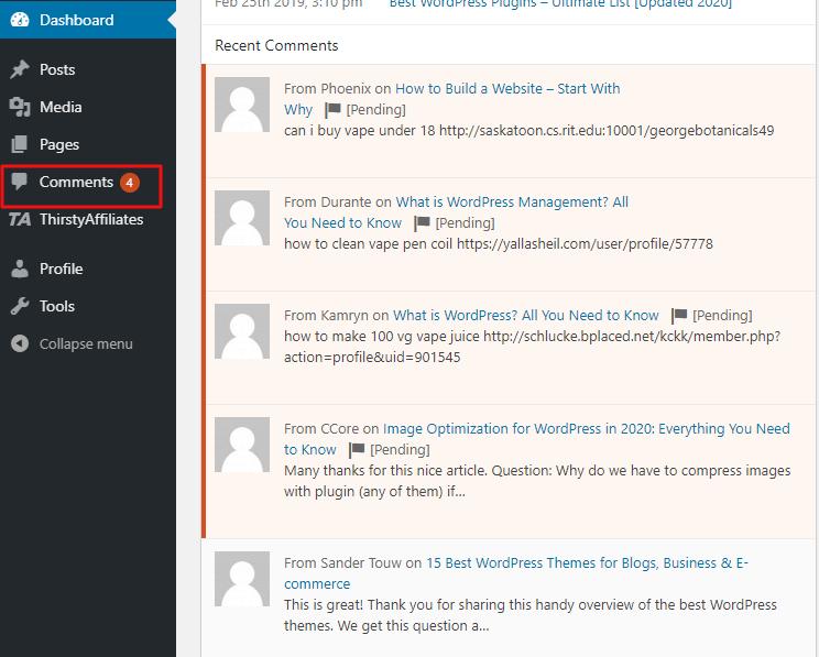 Comment notification via Akismet